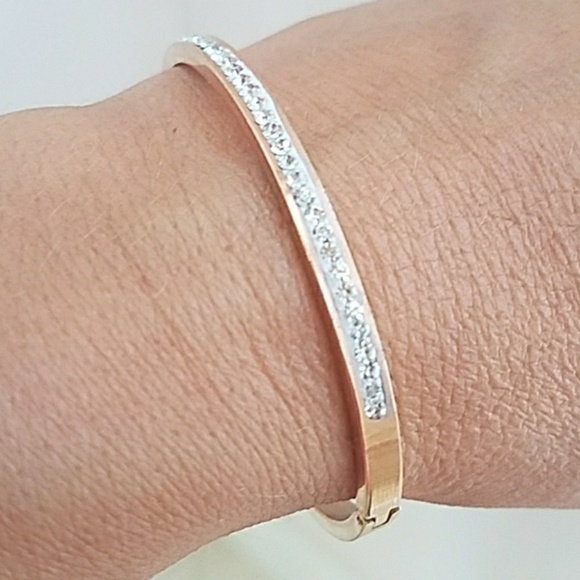 023ca69440d Jewelry | Rose Gold Plated Bangle With Cz 75 Inches | Poshmark